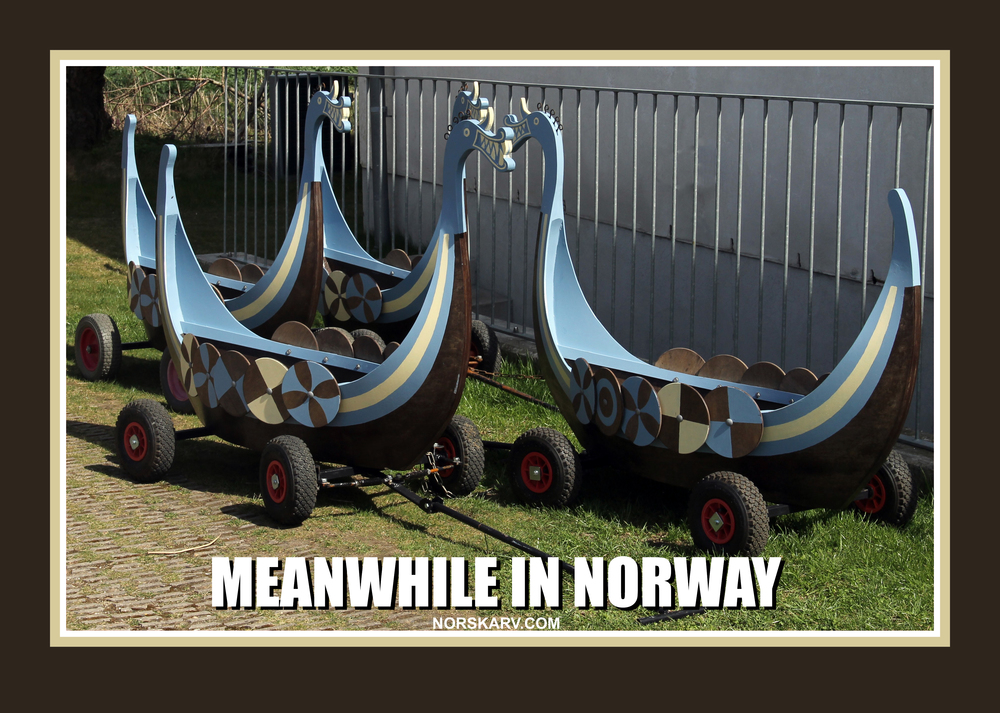 meanwhile in norwa meme alt for norge norwegian norskarv viking wagon cart daycare longship longboat