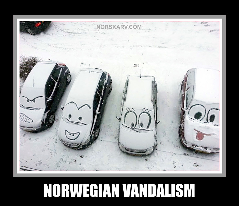 norwegian vandalism meme snow cars norway norskarv alt for norge funny humor humorous