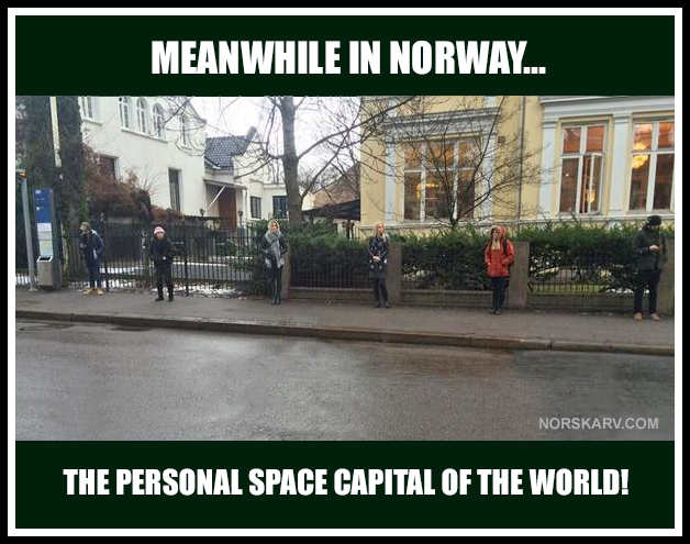 Meanwhile in Norway meme the personal space capital of the world norwegian norskarv alt for norge bus stop fun funny humor crazy wild