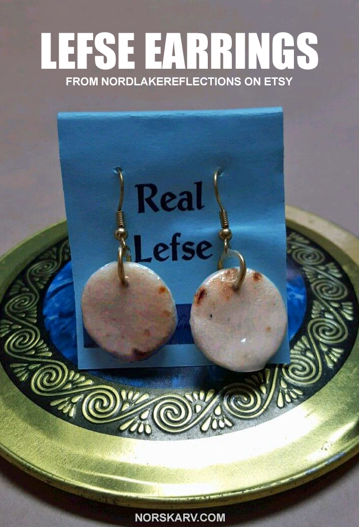lefse earrings norway norwegian alt for norge norskarv fun funn humor humorous wild crazy food jewelry