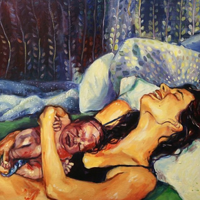 Art of an actual woman after birth by Amanda Greavette