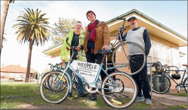 Press the Pedals - A <timely article in this week's Northcote Leader (link)> to sustain community interest.Thanks to Steve Edmonstone for organising and coming in for his second photo shoot in a fortnight.Margot and Mike were also able to come in mid-week - the photographer doesn't work weekends!