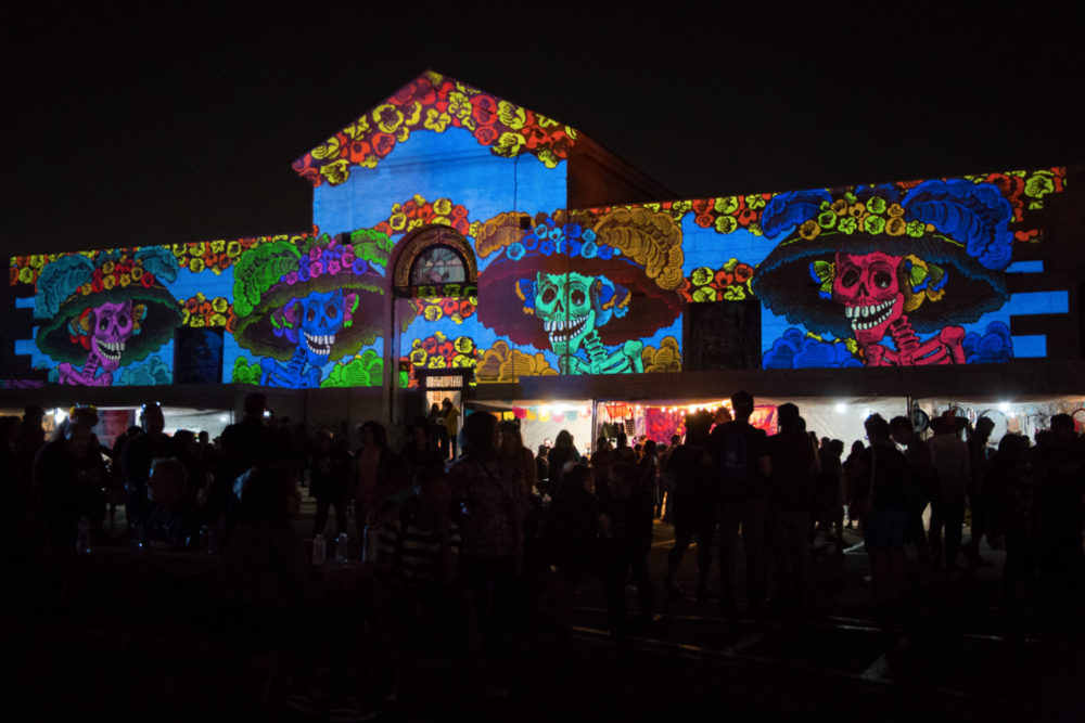 Electronic Countermeasures Created visuals for Dia de los Muertos Hollywood Forever Cemetery