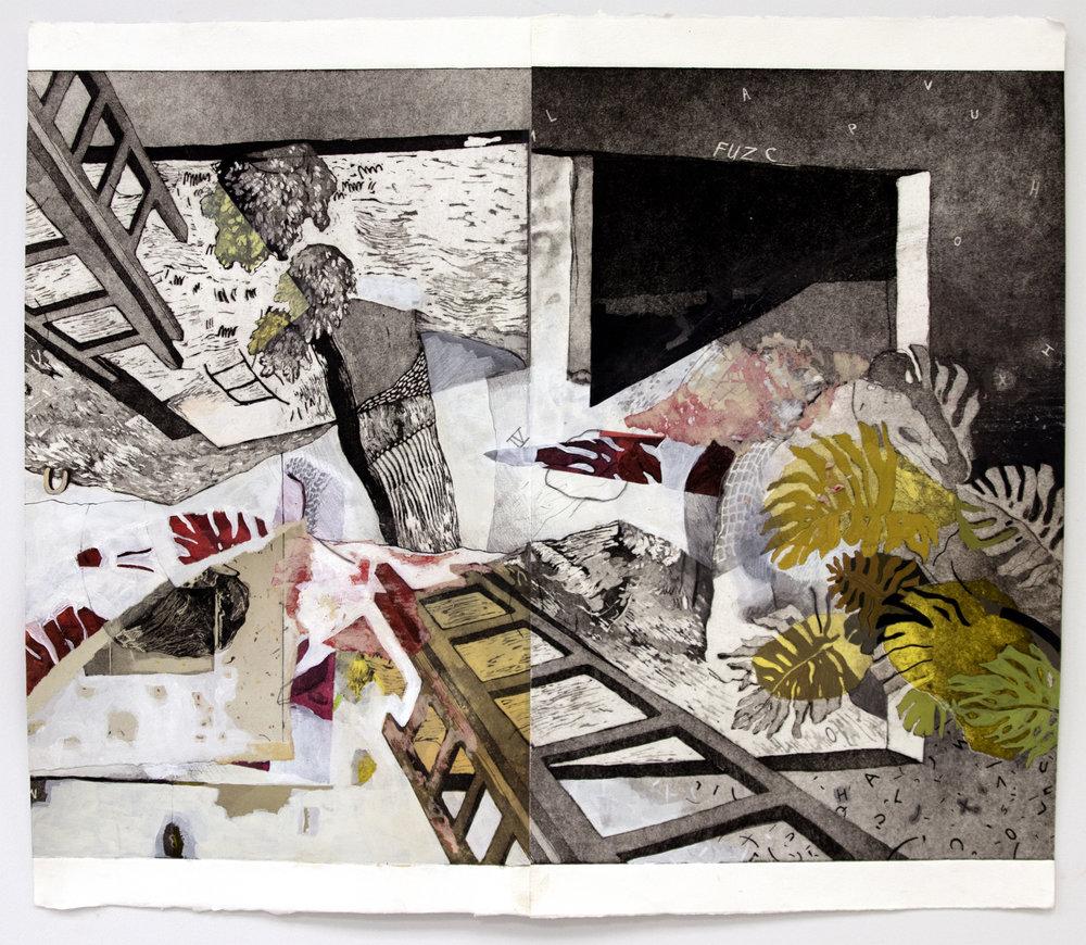 """Echo Chamber;  Intaglio, Acrylic, Chine Colé, Graphite, 18""""x24"""", 2017"""