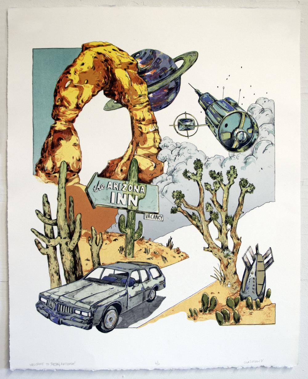 "Welcome to Phoenix, Arizona!;  Lithography, 18""x22"", 2016"