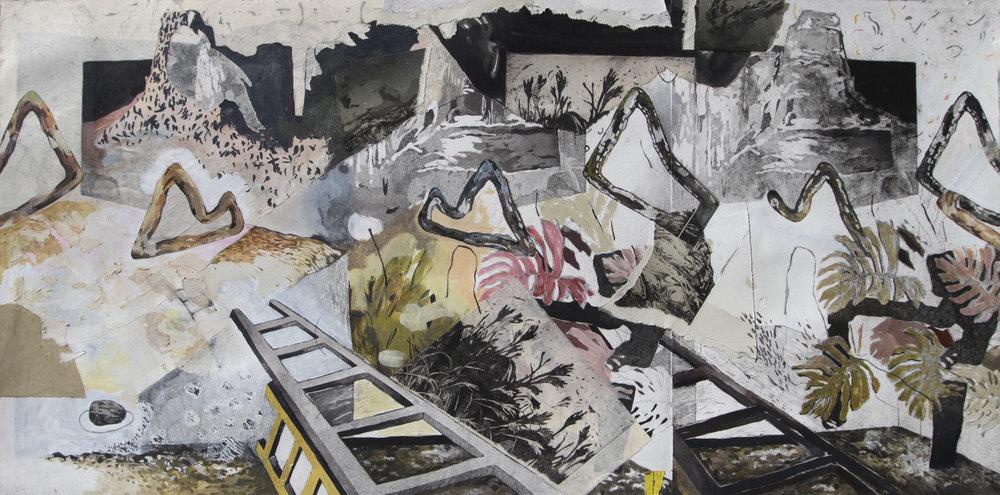 "Re-re-Iteration;  Intaglio, Chine Collé, Graphite, Acrylic, Matte Medium, 18""x36"", 2017"