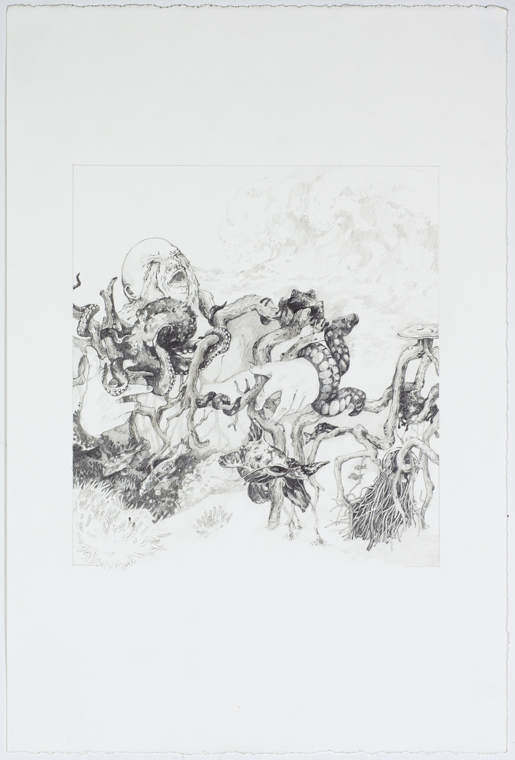 "A Personal Flood;  Graphite, 15""x22"", 2014"