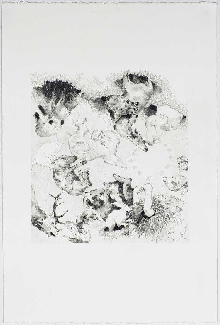 "A Native Gathering;  Graphite, 15""x22"", 2014"