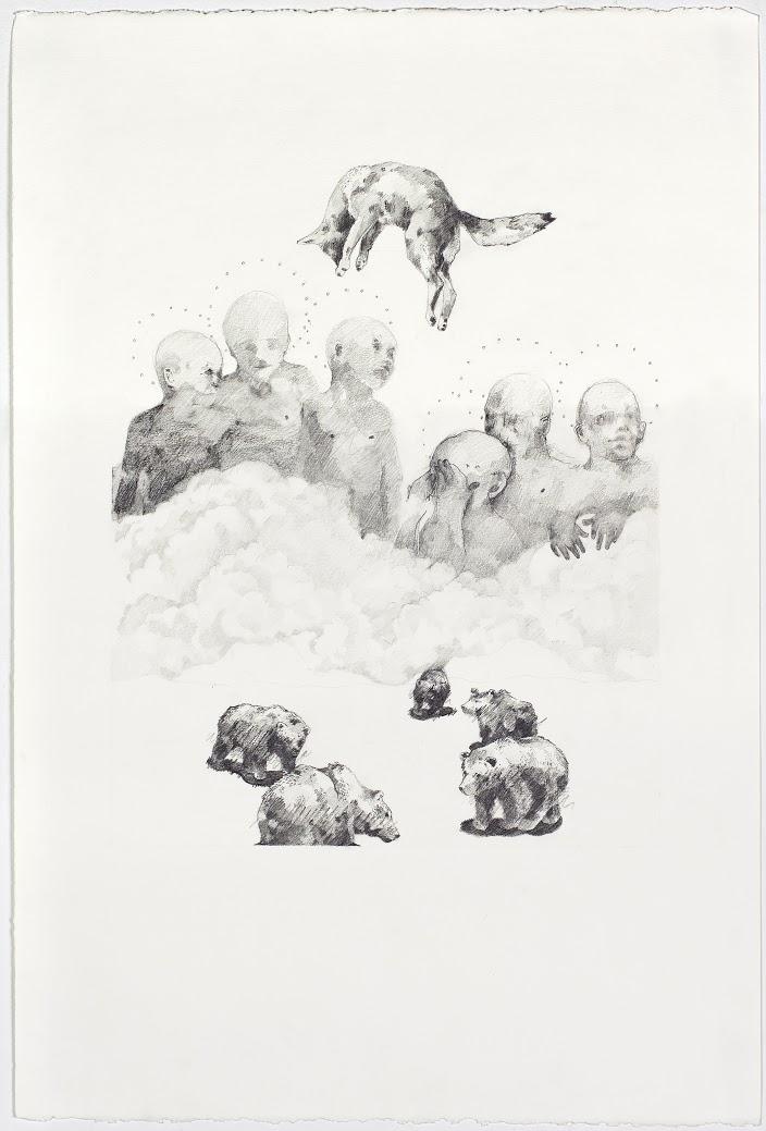 """False Awakenings;  Graphite, 15""""x22"""", 2014"""