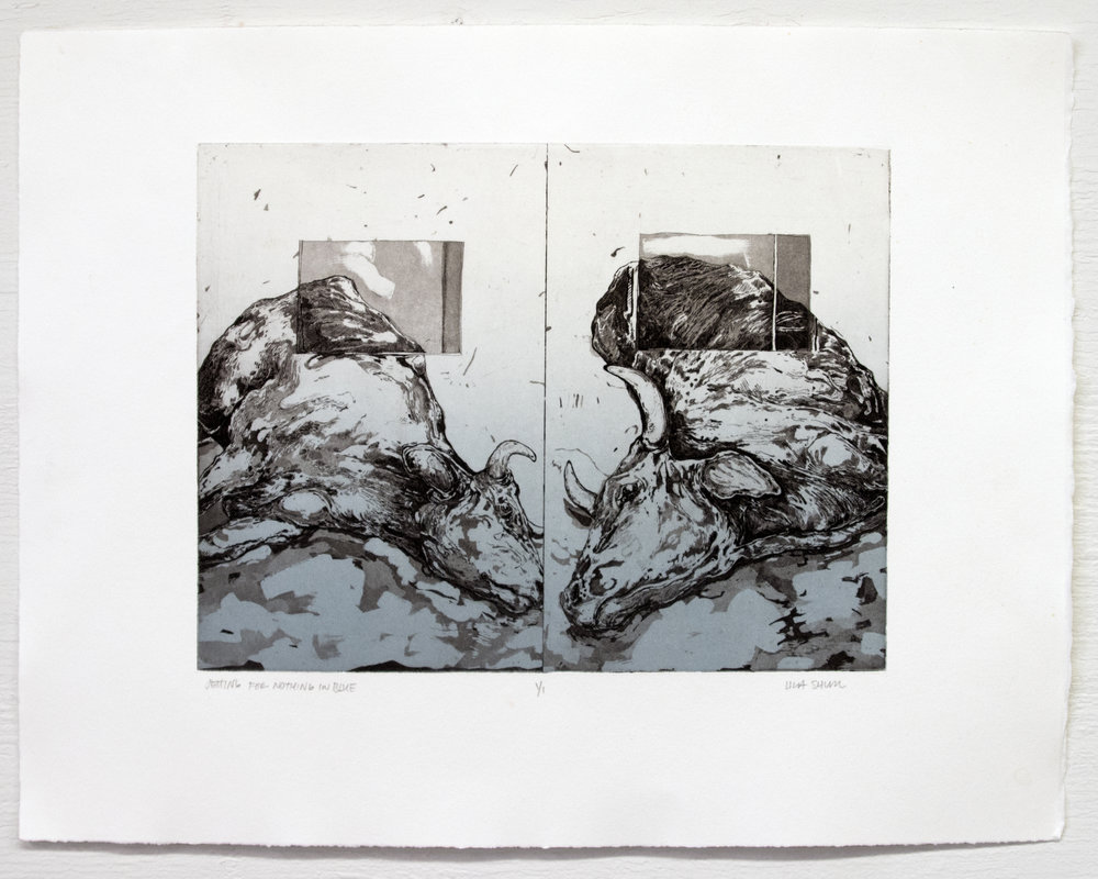 """Setting For Nothing In Blue;  Intaglio, 14""""x18"""", 2016"""