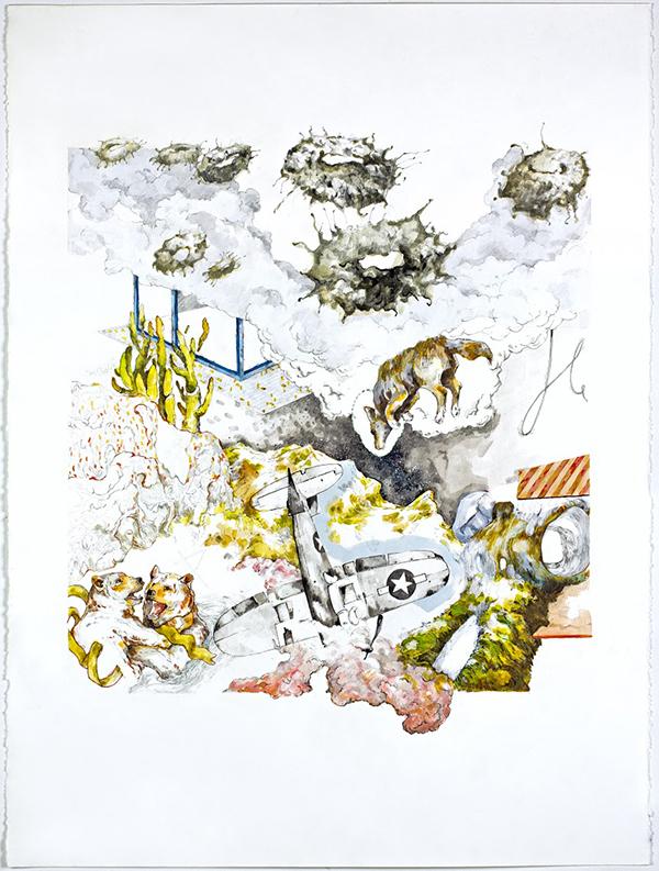 "Archetype Probably;  Graphite, Pen, Acrylic Paint, 22""x30"", 2015"