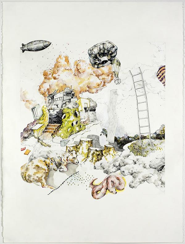 "Hardened Surfaces;  Graphite, Pen, Acrylic Paint, 22""x30"", 2015"
