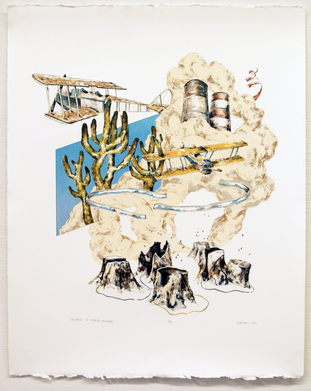 """Welcome to Salvo, New Mexico!;  Lithography, 18""""x22"""", 2016"""