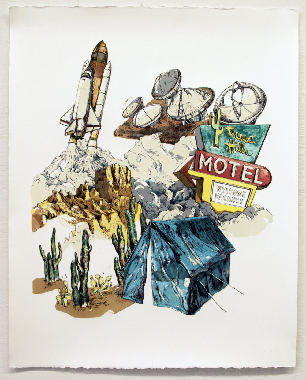 """Welcome to Elyria, Nevada!;  Lithography, 18""""x22"""", 2016"""