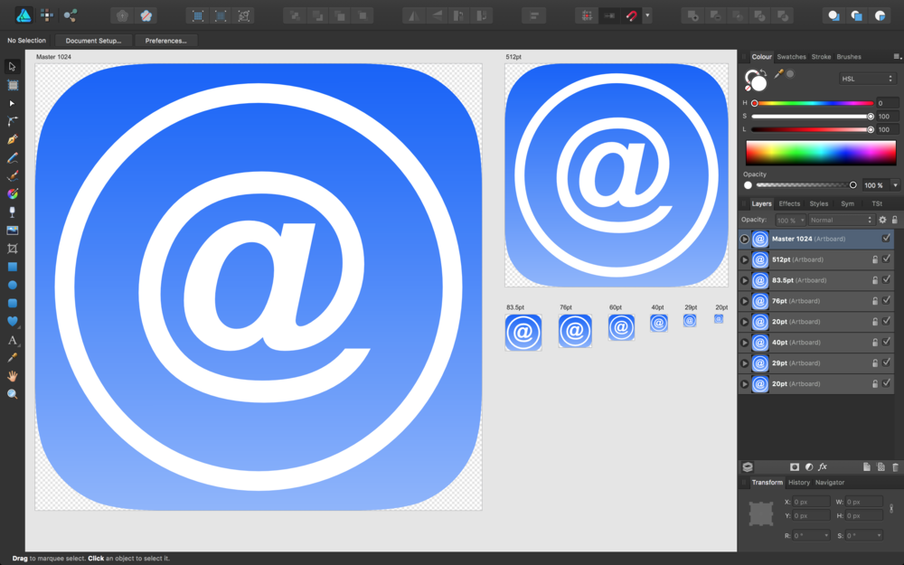 The icon template open in Affinity Designer