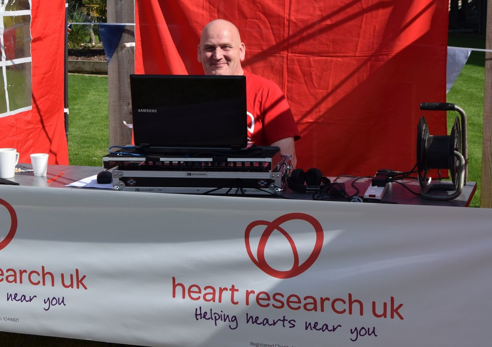 Heart Research UK and DJ John at Forest of Hearts charity fete.JPG