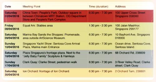 """Panda Chow Chows Singa-Tour"" detailed calendar of events."