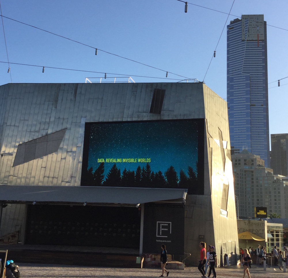 The big screen at Federation Square, Melbourne