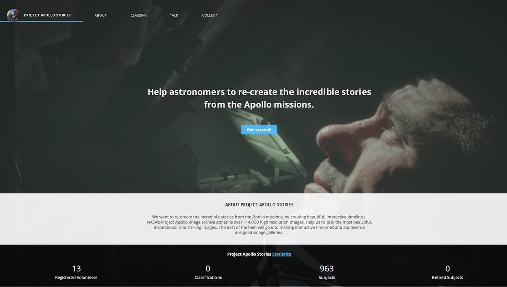 Screenshot of the Project Apollo Stories website (click through to explore)