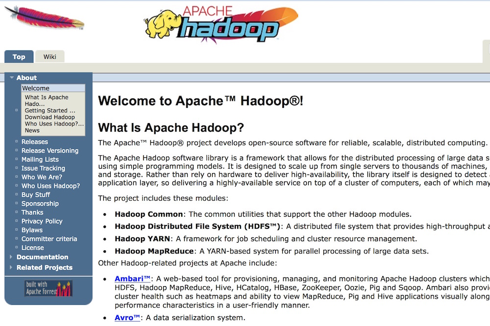 Screenshot of the Apache Hadoop website