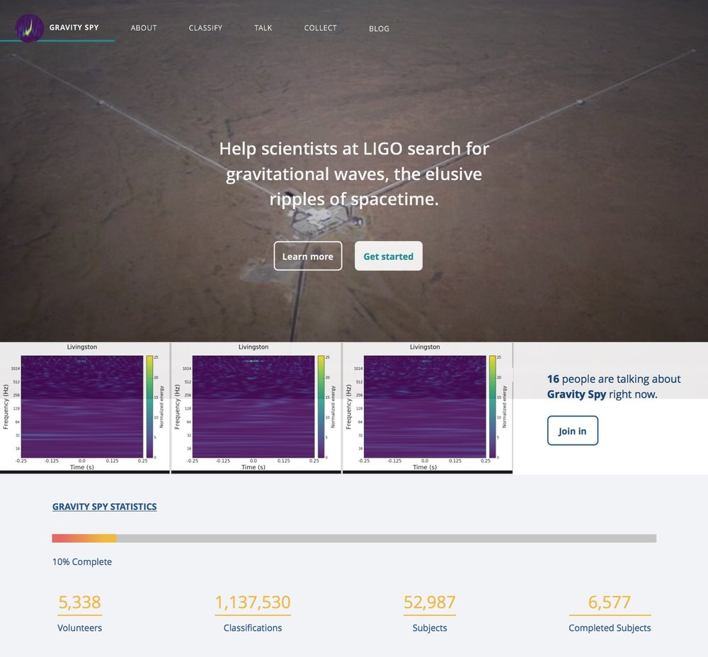 The Zooniverse Gravity Spy Project:https://www.zooniverse.org/projects/zooniverse/gravity-spy