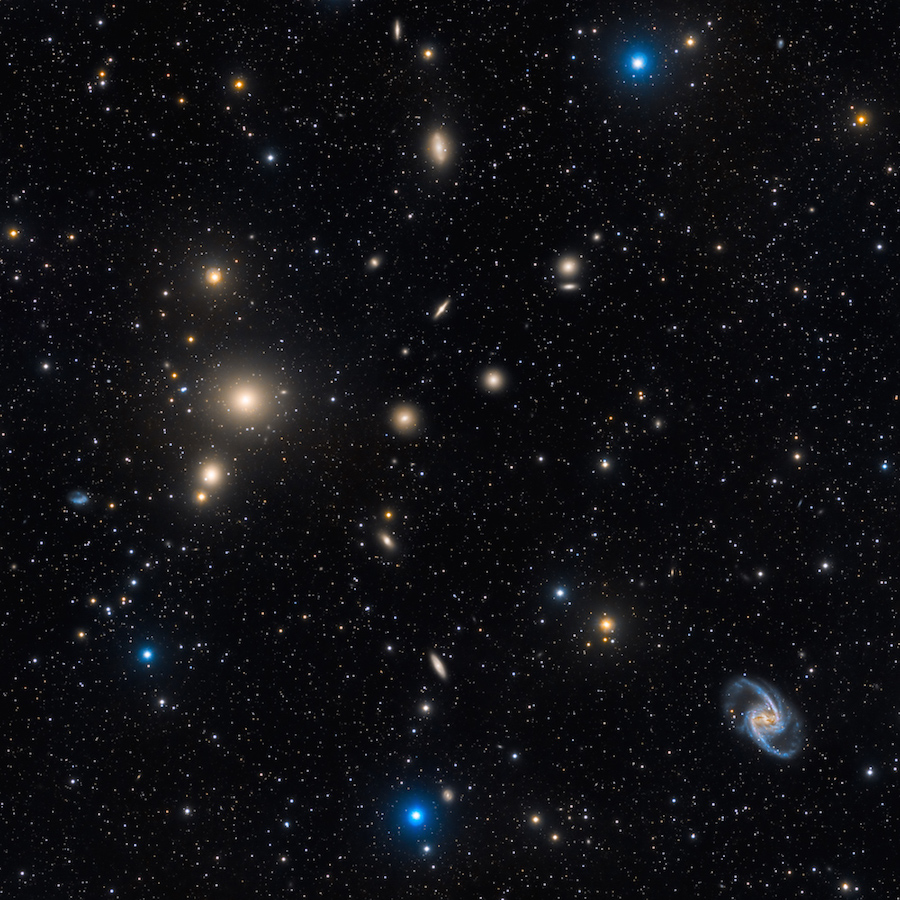 The Fornax Cluster of galaxies, with NGC 1399 & NGC 1365 (right)