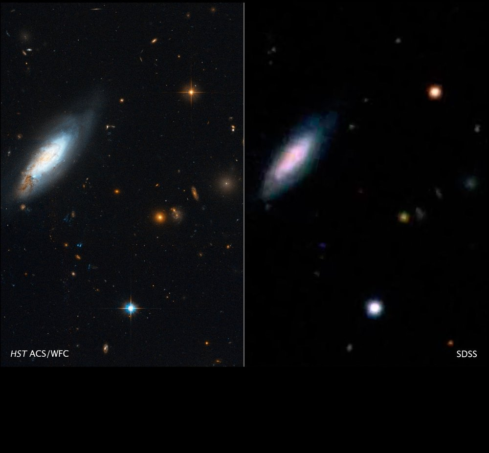 The right image is from a ground-based telescope while the left image is from HST, clearly revealing the improvement in image quality. Shown is a bright Coma cluster spiral galaxy gravitationally interacting with other galaxies and stirring up clouds of dust.  Image credit:  Zolt Levay/STScI, NASA, Coma HST ACS Treasury Team.