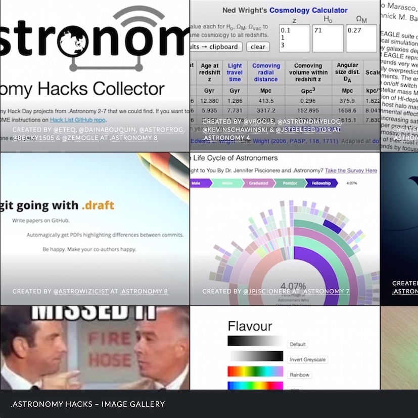 .Astronomy Hacks – Image Gallery - A visual feast of hack day projects from the past eight years of .Astronomy conferences. Built using GitHub, templated.co, HTML5 & CSS
