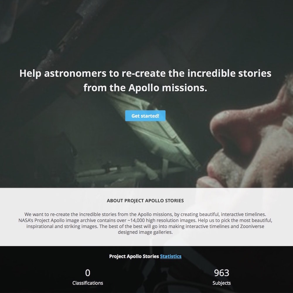 Project Apollo – Data Driven Stories - A demo citizen science project to ecreate the stories from the Apollo missions. Built using the Flickr API, Python, TimelineJS, and the Zooniverse Project Builder