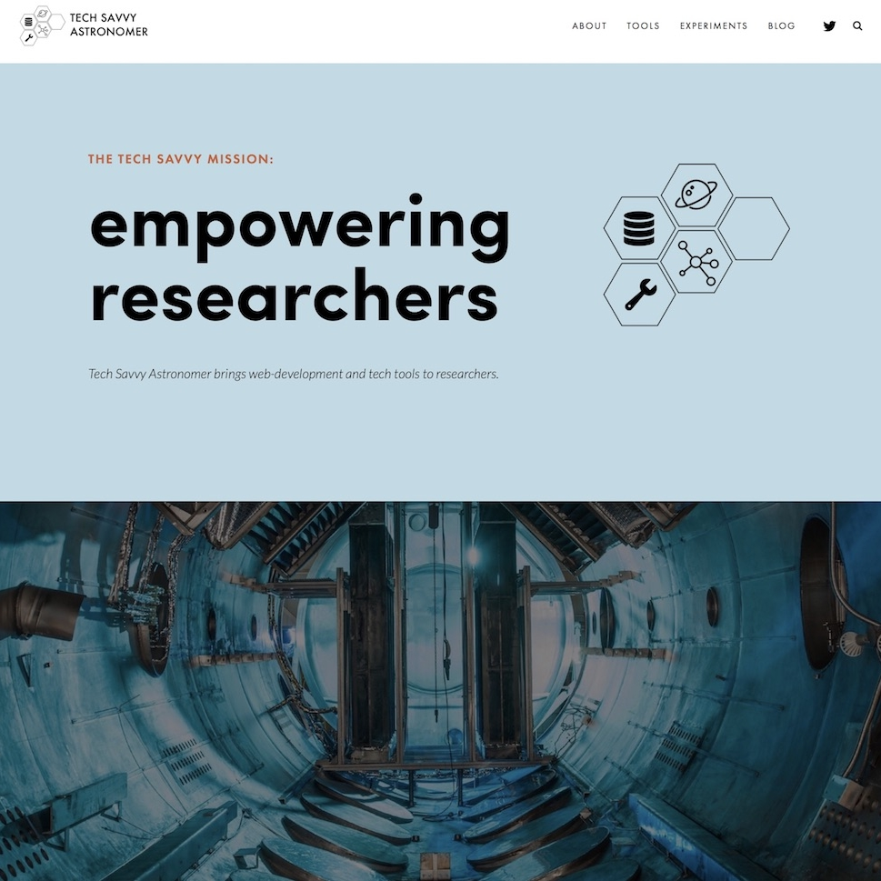 techsavvyastro.io - A Squarespace website that brings tech tools, tutorials and industry knowledge to astronomers.Empowering researchers to redesign their careers. Logo design using iconfinder & GIMP