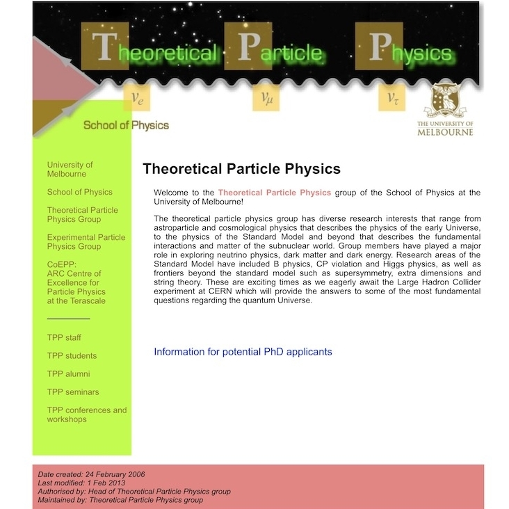 Theoretical Particle Physics Group – University of Melbourne
