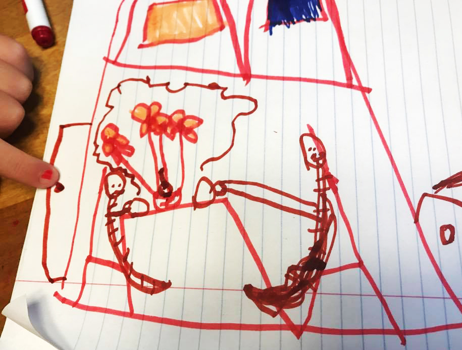 "An illustration by Corrie's four-year-old: Corrie and her daughter drinking steaming cups of coffee together. The door is open ""so friends can come on in!"""
