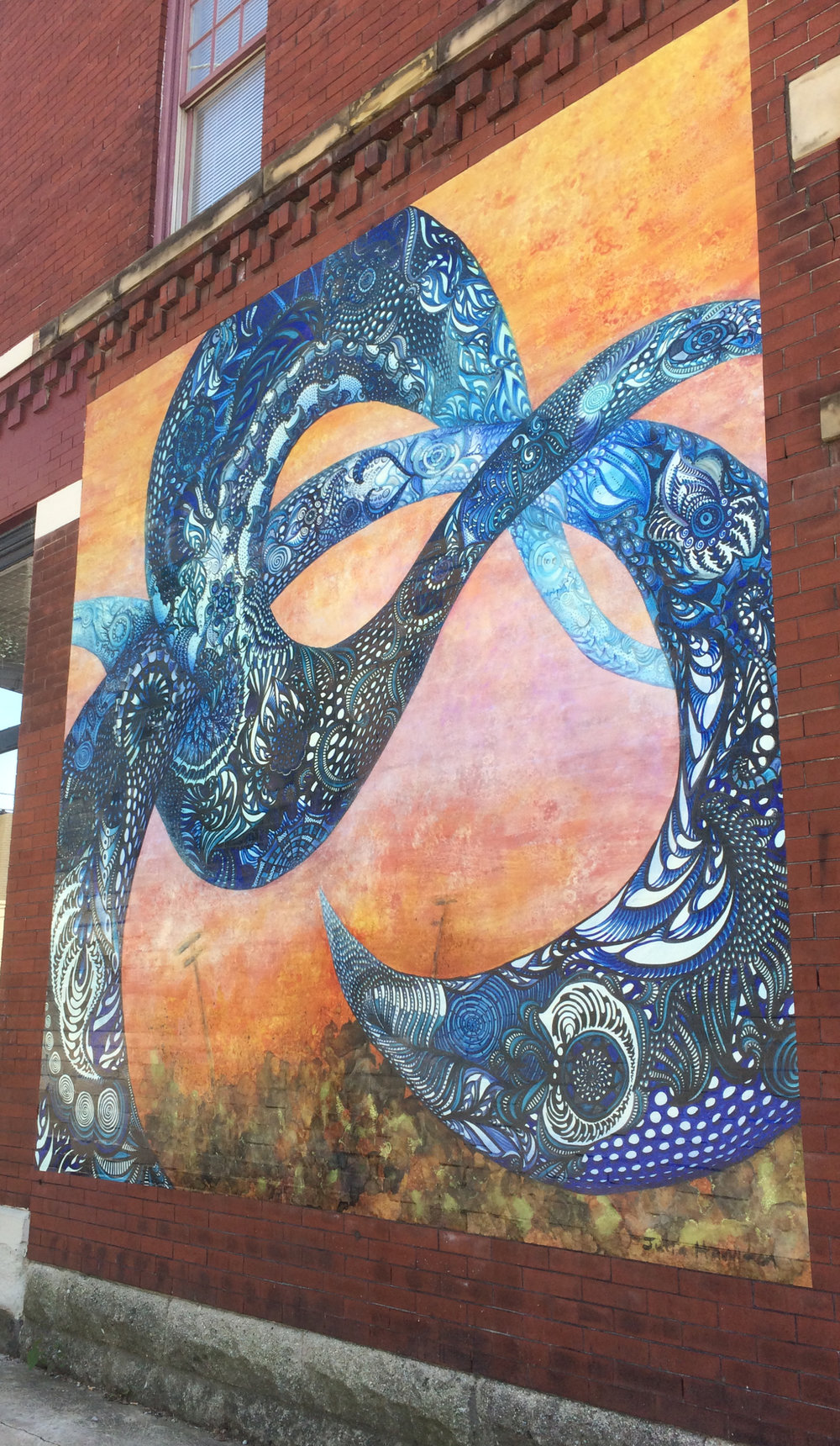 mckinley murmuration  by Julia Hamilton; short north temporary mural sponsored by sean christopher gallery; 2017-18; Location: 977 N. High St.