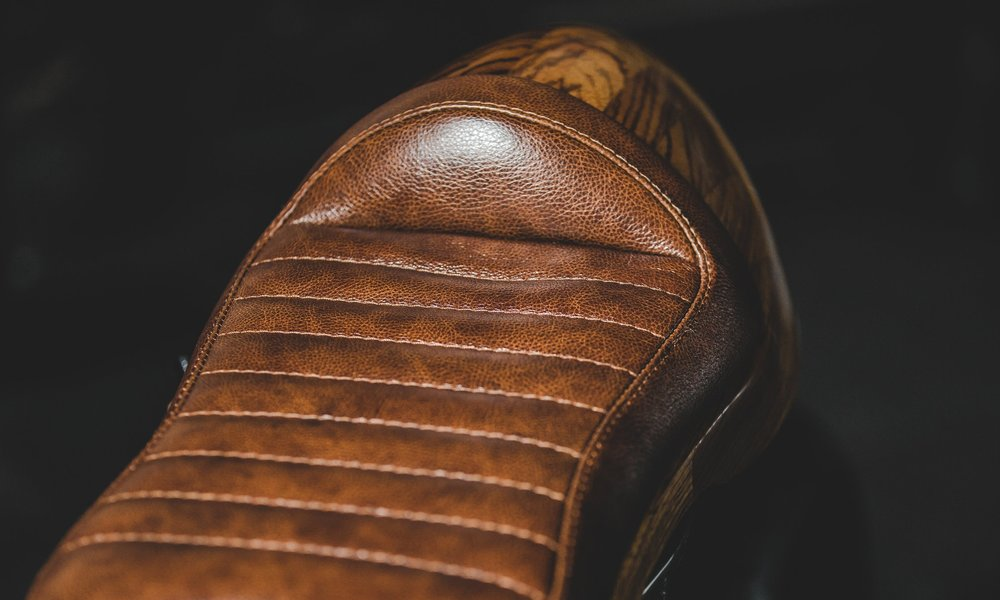 leather custom motorbike seat