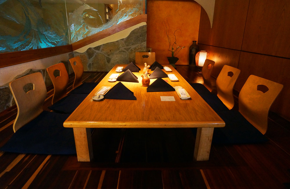The Tatami Room can be Reserved for 6 to 10 people. 7P,m or 9pm Seating Options. Yes, Shoes off Please...