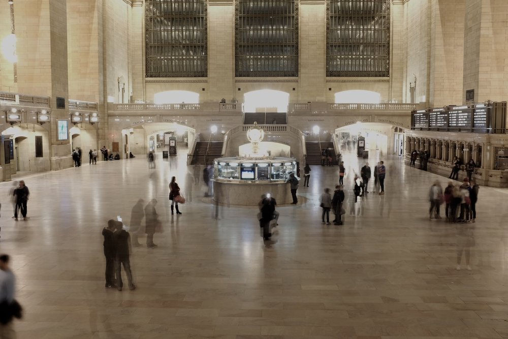 "With its bustling halls and rumble of trains underground, Grand Central Station is a great reminder that New York is ""the city that never sleeps."" I took this 30 second shutter speed photo in order to capture the transience of people coming and going in the station."