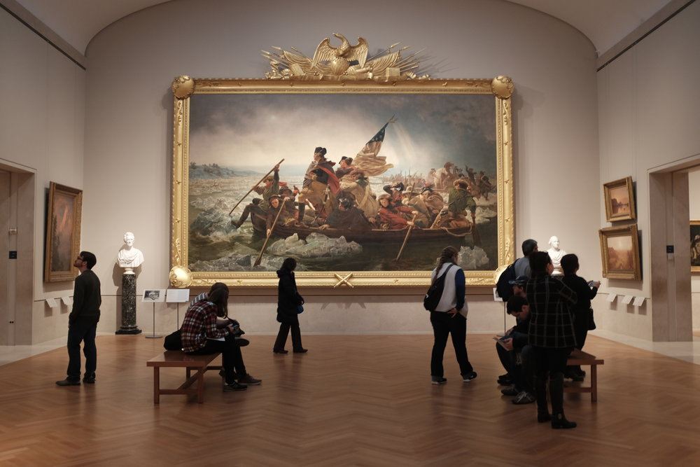 "I actually gasped when I first saw ""Washington Crossing the Delaware ."" I tried to capture the scale of the painting by showing the surrounding room and museum-goers, but no picture could do it justice."