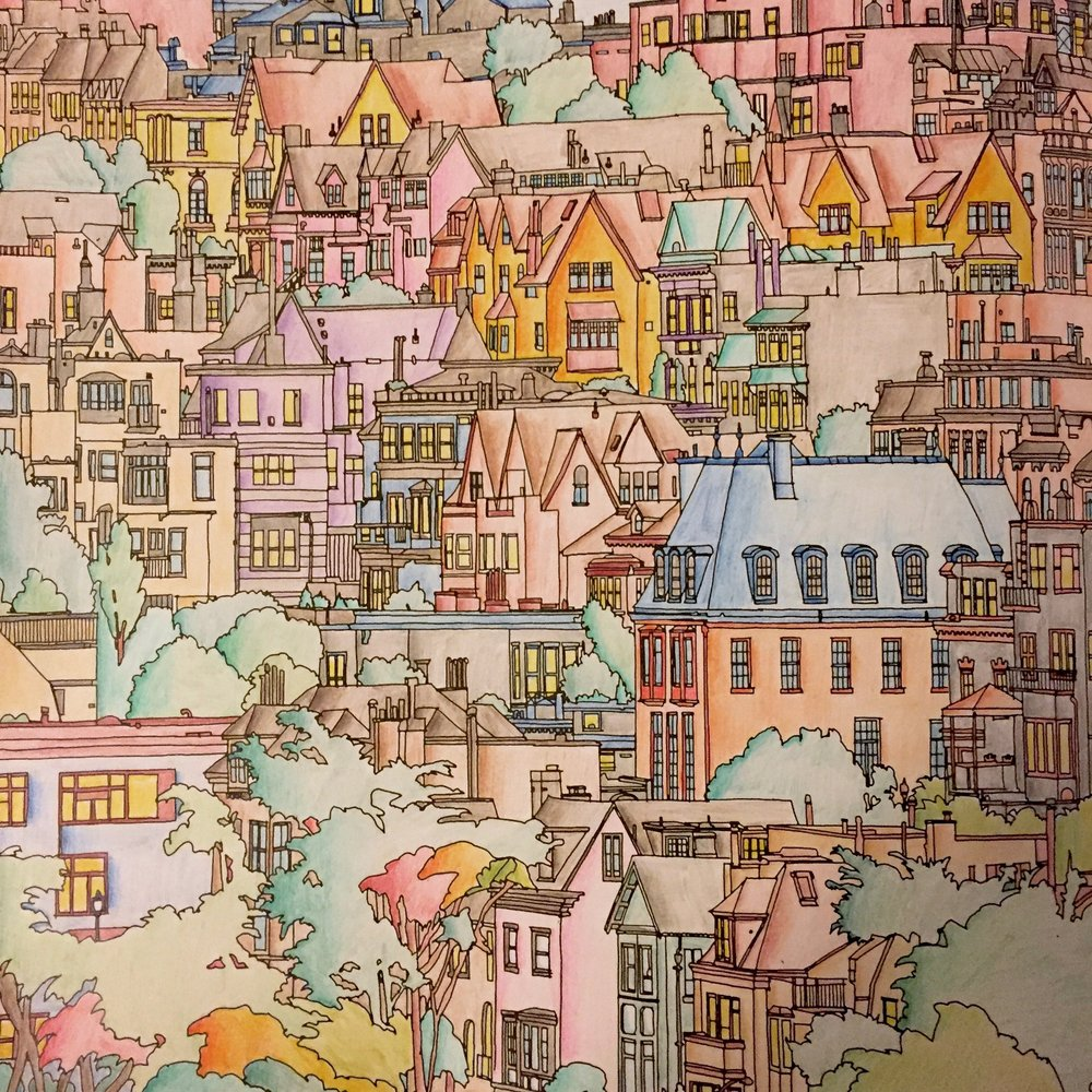 My first coloring project: the familiar scene of hilly San Francisco.