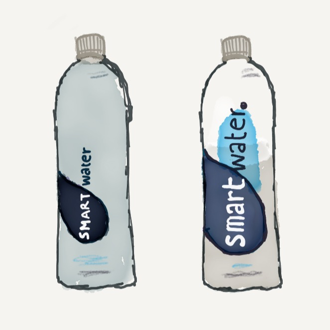 Left (1st draft) vs. Right (2nd draft): I adjusted 'Smart Water' logo size and updated the colors to better align with reality.