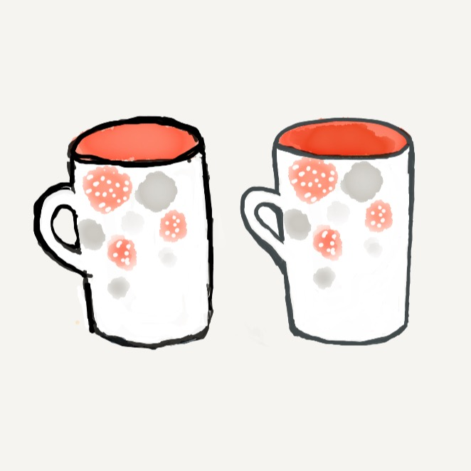 Left (1st draft) vs. Right (2nd draft): I stabilized the cup which was leaning slightly in the first draft, cleaned up the lines, and adjusted the cup handle.