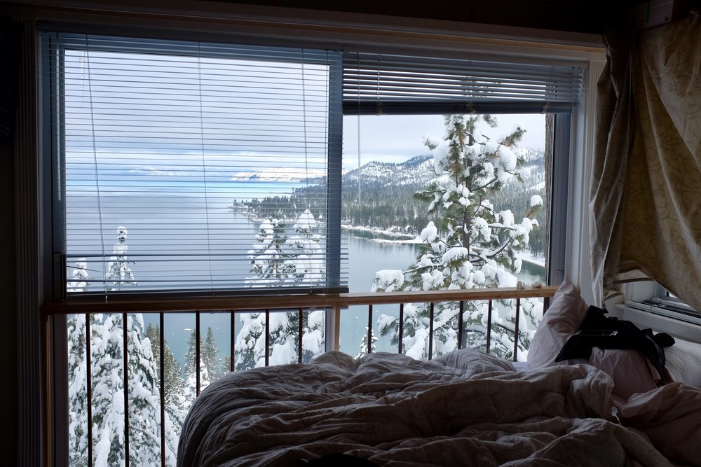 My friends and I were shocked to wake up to this magical view of Lake Tahoe from our bedroom window.  We stayed at an Airbnb cabin about ~10 min drive from Heavenly resort.