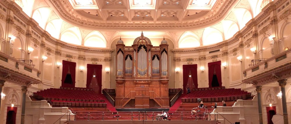 Recording the big pipe-organ with Leo van Doeselaar in de Grote Zaal at the Royal Concertgebouw Amsterdam