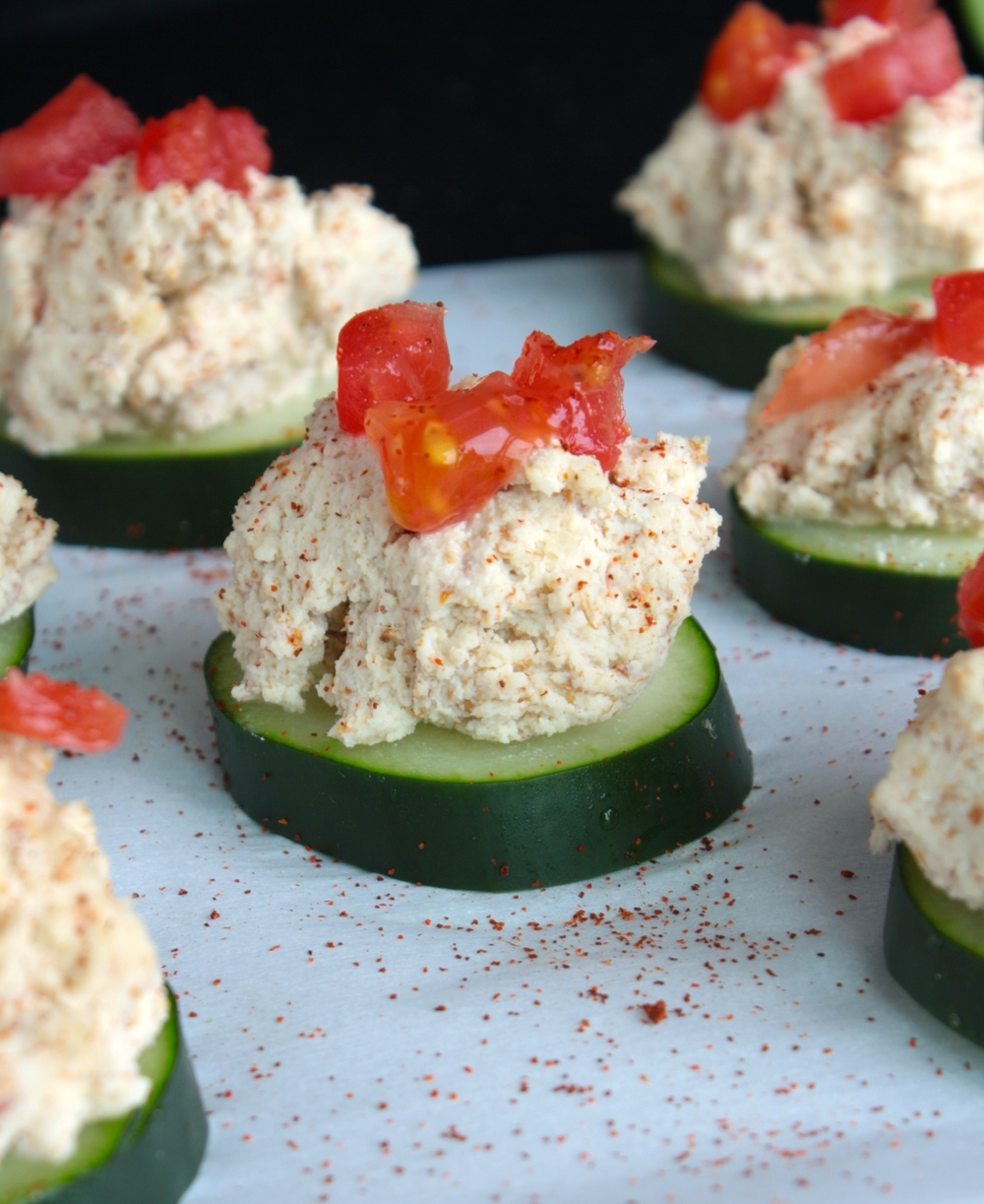Cheezy Cucumber Bites Vegan