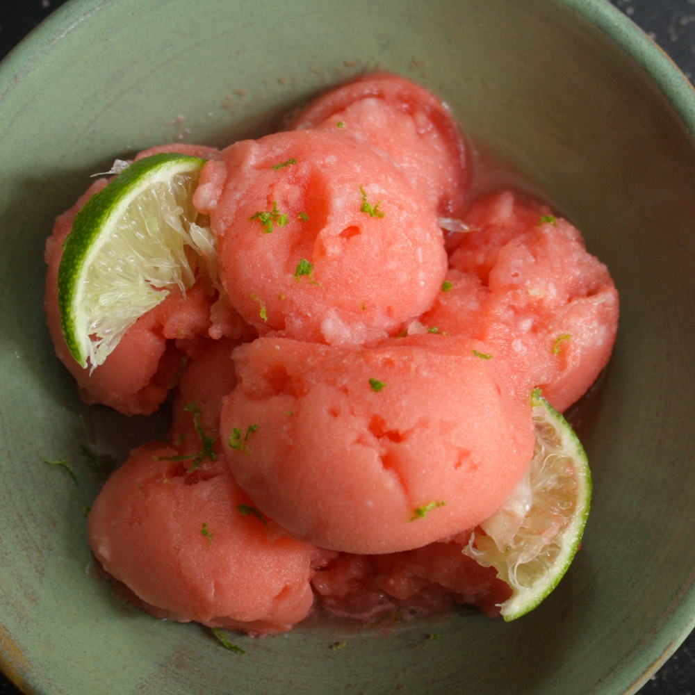 Vegan Watermelon Lime Sorbet
