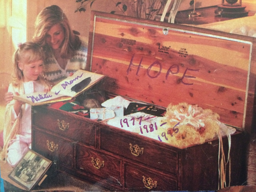 An advertisement clipping she had of the hope chest she bought, along with her handwritten note of the important dates - the year I was born, then adopted, and the year I turned 18.