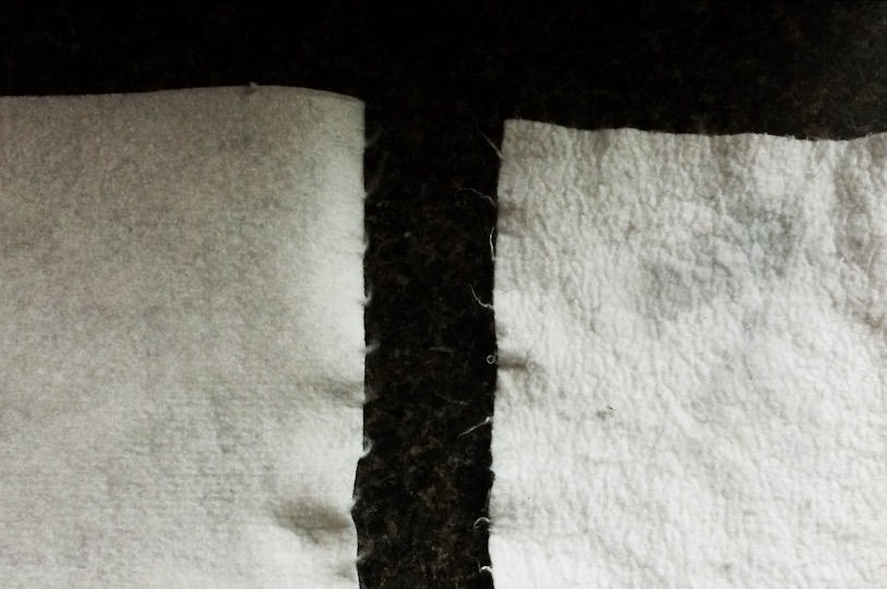 Left: NEW towel // Right: Used to wipe down the counters for a day, then washed and dried normally (no fabric softener). It shrunk and pilled a bit but works just as well, even more absorbent.