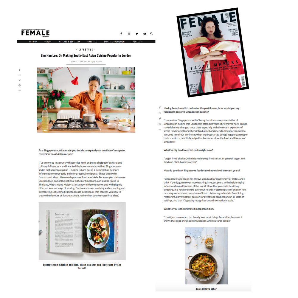 Female magazine (Singapore): Tastemakers, July 2018