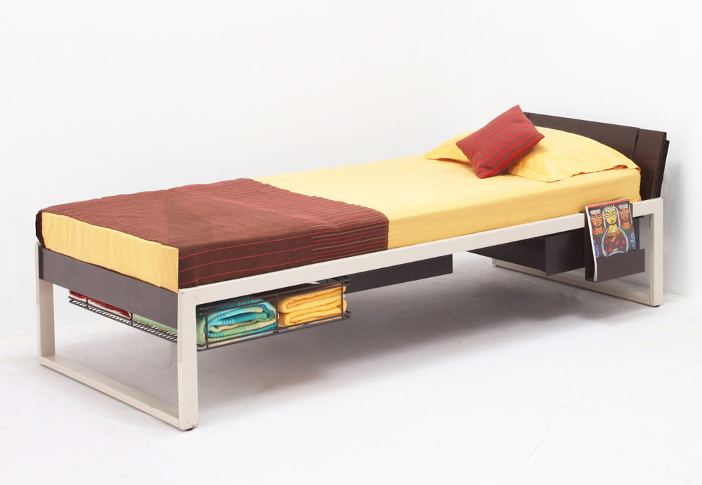 EQ Bed Set - This project was done in collaboration with Godrej Interio in Mumbai, India.The brief was to develop a metal bed-set for university dorms and student hostels at a competitive price range. Taking into consideration the increasing amount of students within each institute vis-a-vis the growing space constraints in Urban India.