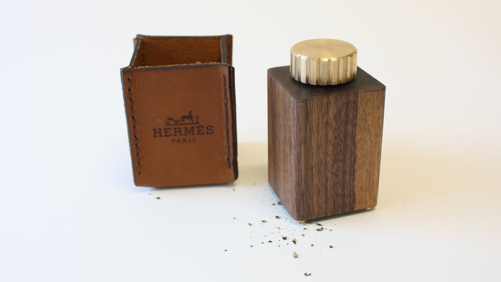 LUXURY CONDIMENT PACKAGING - The Hermes Pepper Mill is a concept project that highlights artisanal methods and craftsmanship; attempting to add to the brand's product line, while maintaining the signature level of high quality, integrity and values that HERMES embodies.
