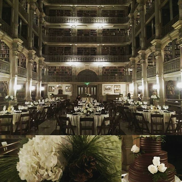 I always love working at the Peabody Library, what a room. Excited to work with Aubrey Canale and Molly Humphrey for the first time. Congrats to Laura and Brian! @georgepeabodylibrary